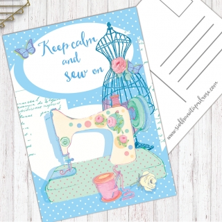 Postcard Keep calm and sew on