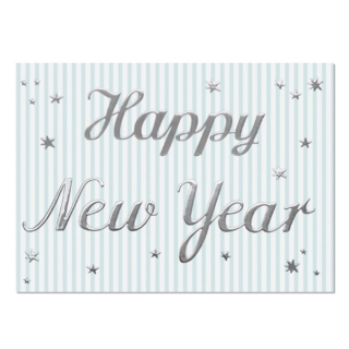 Postkarte Din A6 Happy New Year Silber Mint