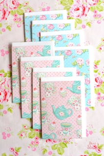 Card set 8 pieces including envelope teapot blue and shabby roses
