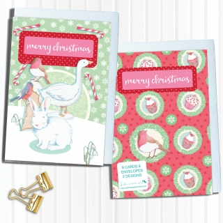 Card set 8 pieces including envelope Christmas White Rabbit