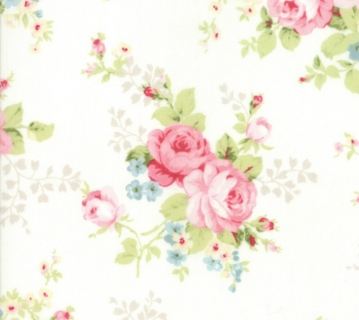 Amberley by Brenda Riddle for Moda Floral Bouquet in Linen White