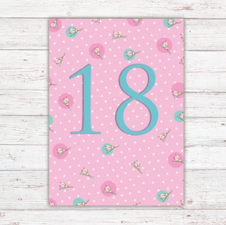 Numbers Card Postcard 18th Birthday
