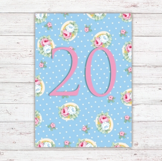 Numbers Card Postcard 20th Birthday