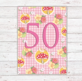 Numbers Card Postcard 50th Birthday