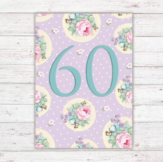 Numbers Card Postcard 60th Birthday