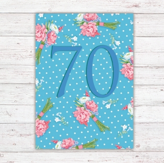 Numbers Card Postcard 70th Birthday