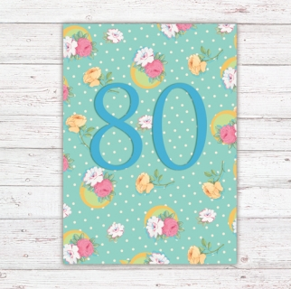 Numbers Card Postcard 80th Birthday