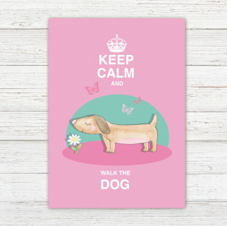 Postkarte Keep Calm and Walk the Dog