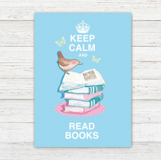 Postkarte Keep Calm and Read Books