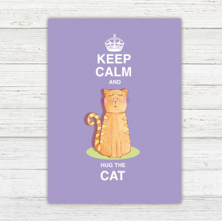 Postkarte Keep Calm and Hug the Cat