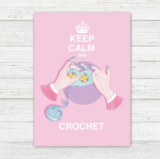 Postkarte Keep Calm and Crochet