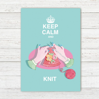 Postkarte Keep Calm and Knit