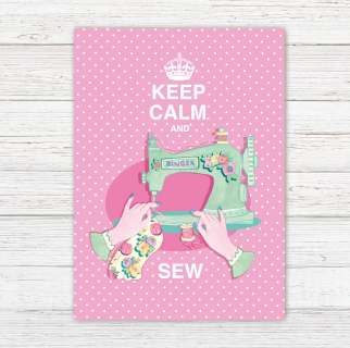 Postkarte Keep Calm and Sew