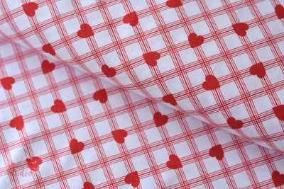 Valentine Rose Plaid Heart Red
