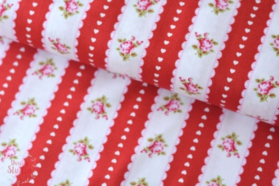 Tanya Whelan Valentine Rose Stripe Ticking Red