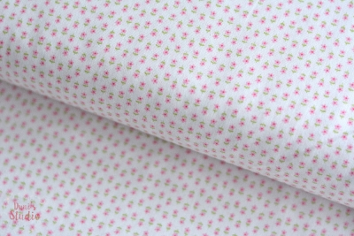 First Romance Sugar Plum small flowers pink white cotton fabric
