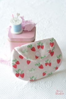 Cute handmade pouch strawberries pink