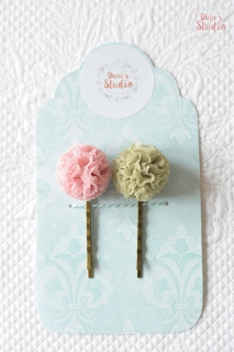 Bobby pins with tulle pompoms, Set of two