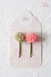 Bobby pins with tulle pompoms, Set of two olive pink