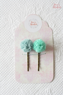 2 pcs bobby pins with tulle pompoms, light blue, mint