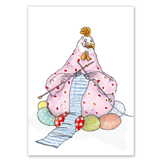 Postcard A6 Easter card Knitting Hen