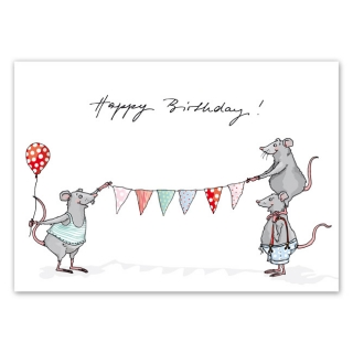 Postcard A6 Happy Birthday Mice