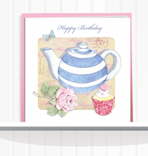 Greeting Card Teapot and Cupcake Happy Birthday