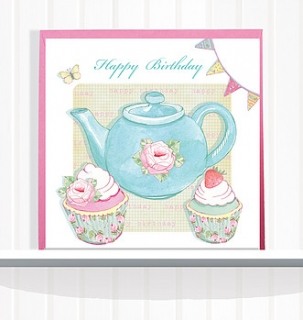Greeting Card Happy Birthday Teapot & Cupcakes