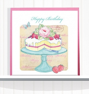 Greeting Card Happy Birthday Strawberry Cake